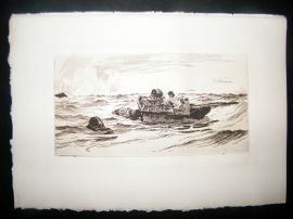 Colin Hunter 1885 Etching. Lobster Fishers